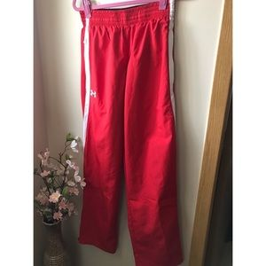 Under Armour Red White Track Pants Small